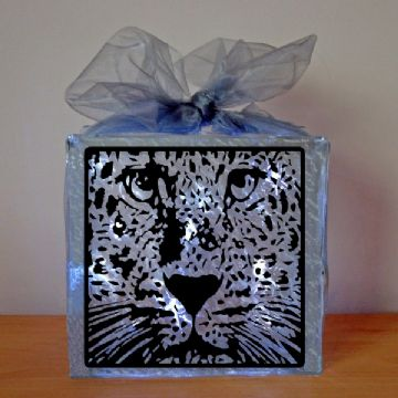 Leopard Face Vinyl Glass Block Template